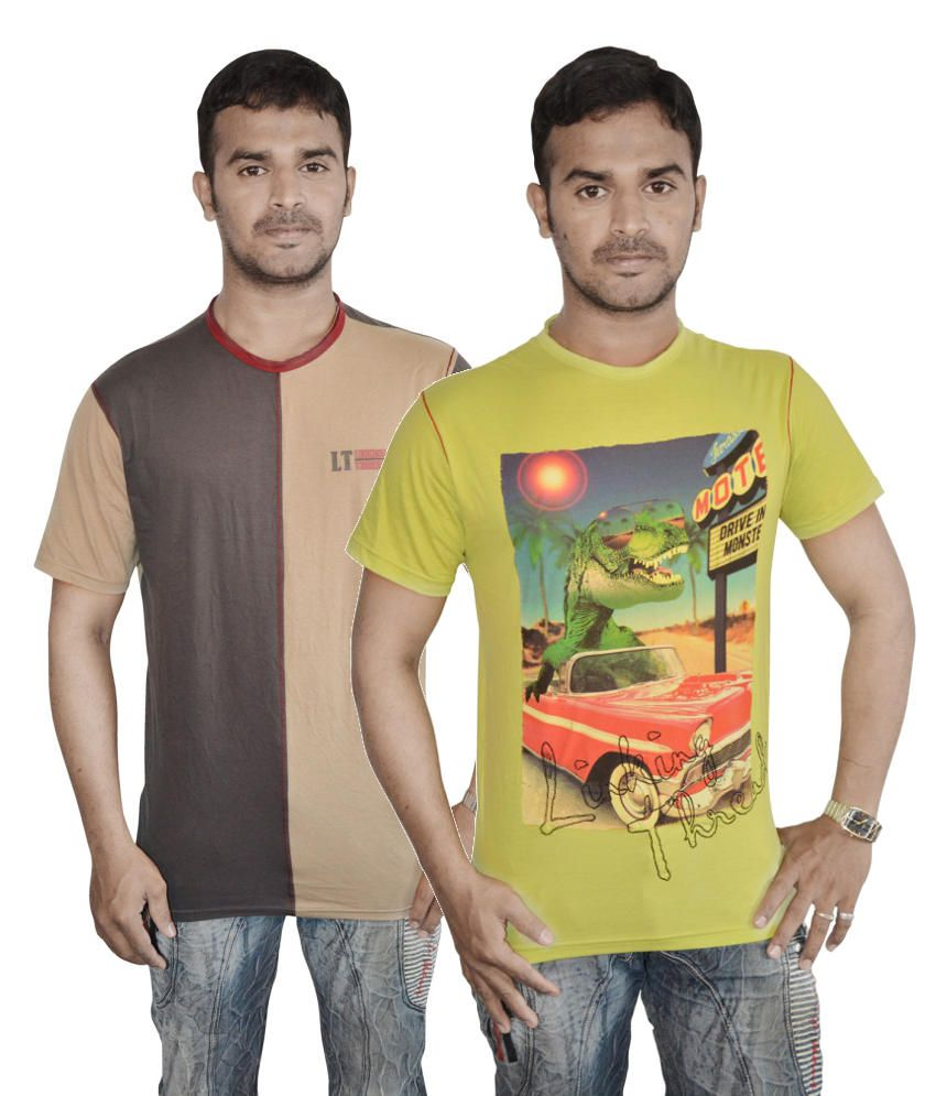 Linking Threads Brown and Green Cotton T-shirts (Combo of 2)