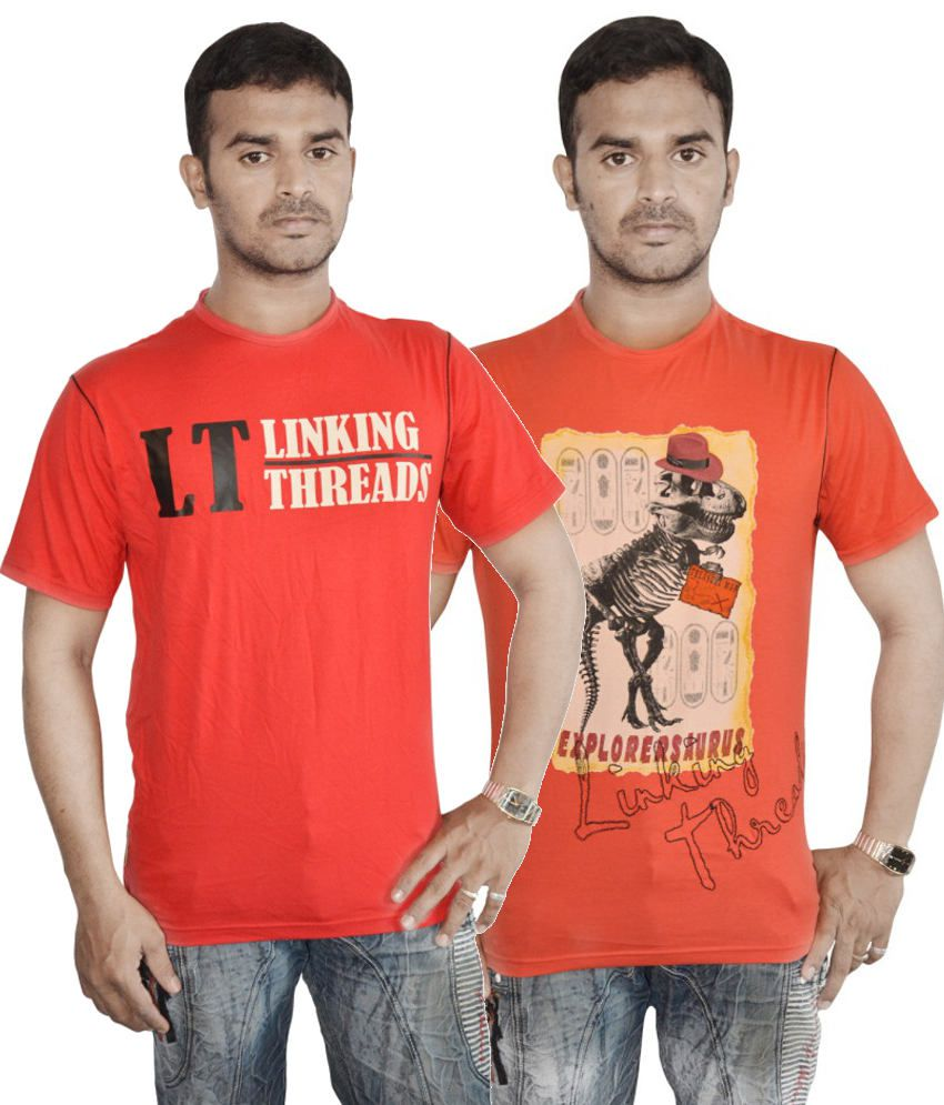 Linking Threads Red and Orange Cotton T-shirts (Combo of 2)