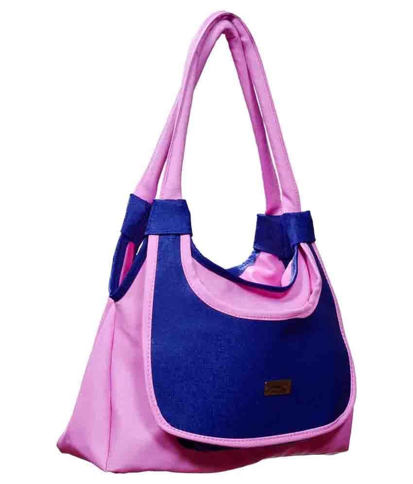 New Pearls Beautiful Pink And Blue Design Handbag