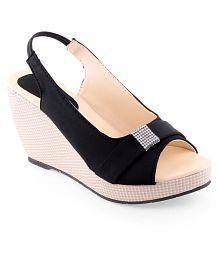 Shoe Lab Black Heeled Sandals