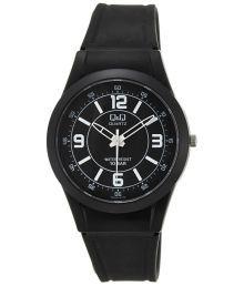 Q&q Black Rubber Quartz Round Watch
