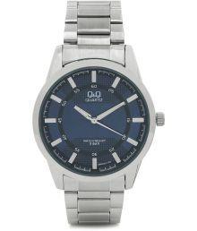 Q&q Silver Stainless Steel Quartz Round Watch