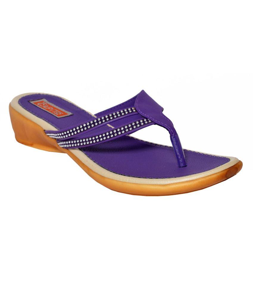 Ashley Purple PU Heeled Slip-Ons