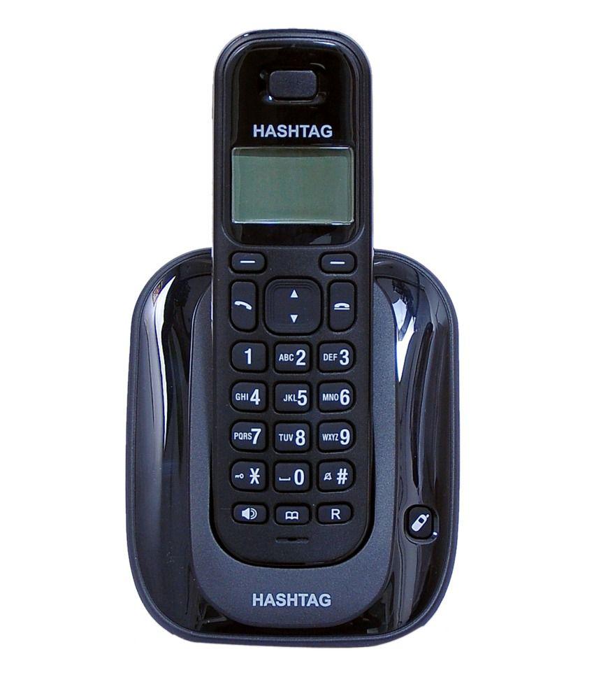 Hashtag 6111 Cordless Direct Landline Phone - Black