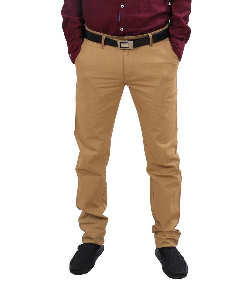 IndiWeaves Beige Cotton Formal Trouser