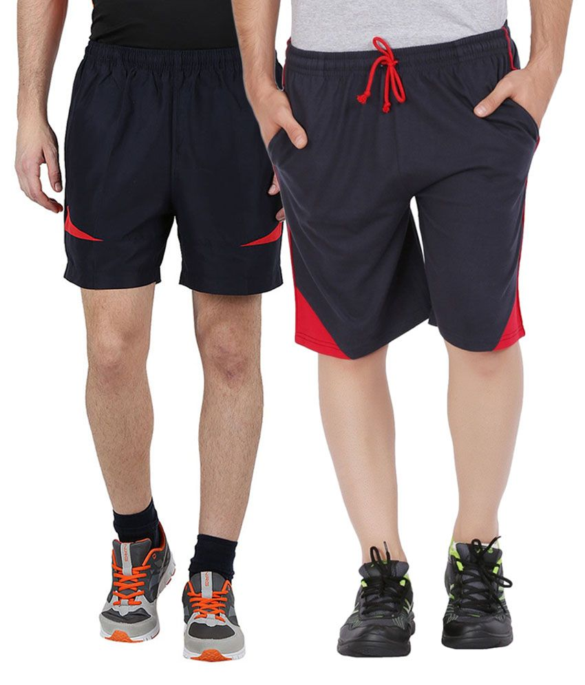 Jeevan Sports Wear Blue Polyester Solid Shorts (Pack of 2)