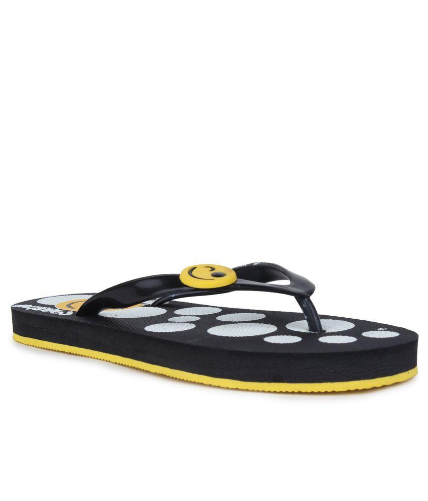 11E Black & Yellow PVC Flip Flops