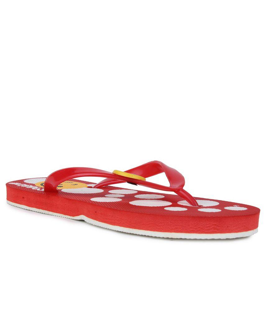 11E Red & White PVC Flip Flops