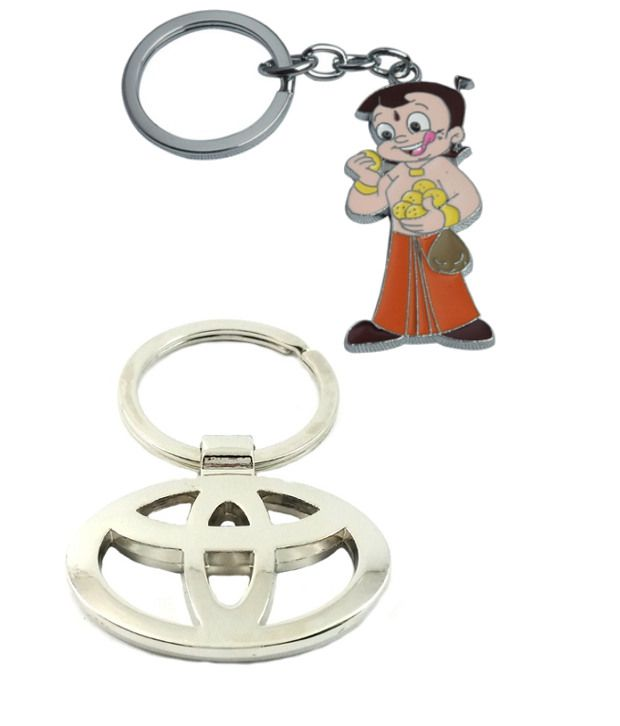 Alexus Combo of Chota Bheem and Toyota Metal Key Rings (Pack of 2)