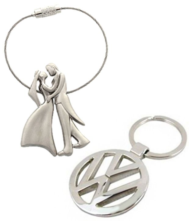 Alexus Combo of Couple and Volkswagon Metal Key Rings (pack of 2)