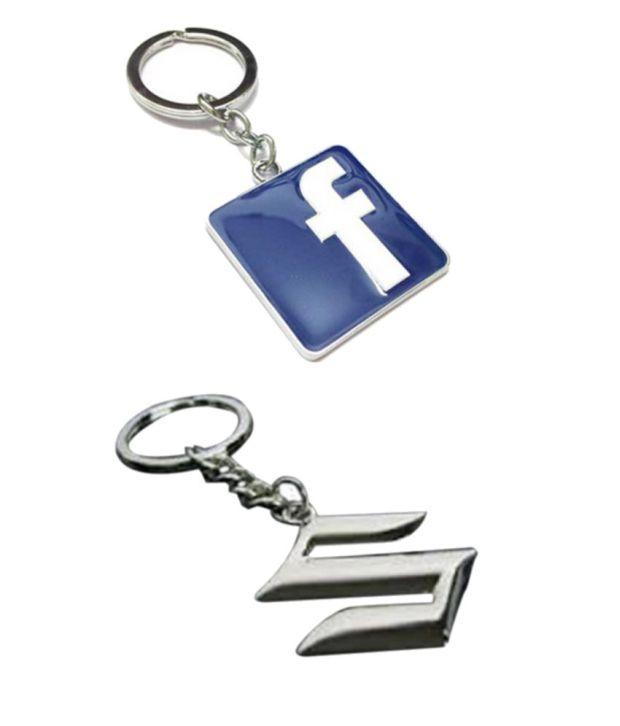 Alexus Combo of Facebook and Suzuki Metal Key Rings (Pack of 2)