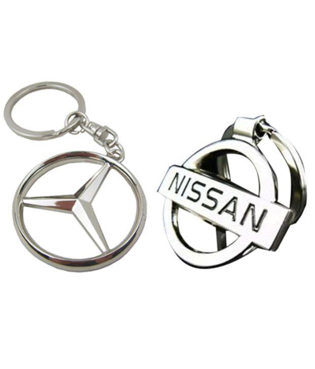 Alexus Combo of Mercedes and Nissankey Metal Key Rings (Pack of 2)
