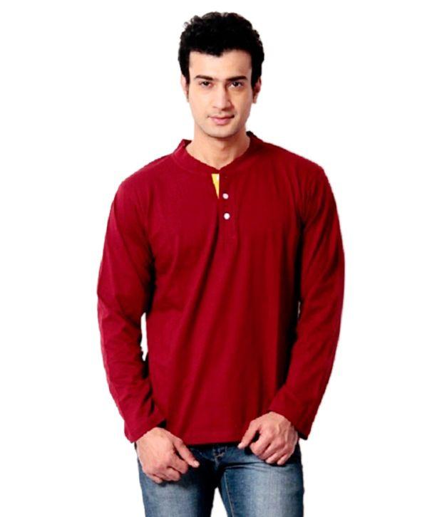 End Maroon Cotton Blend Henley T Shirt