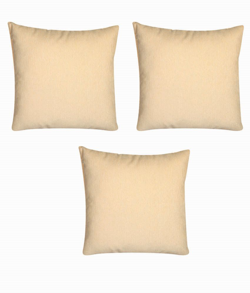 Revedoux Set of 3 Beige Polyester Cushion Covers