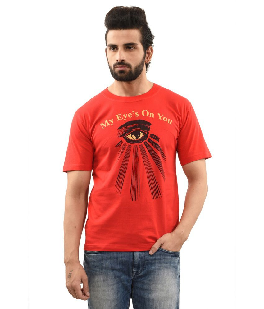 TSG Escape Red Cotton Round Neck Half Sleeve Printed T-Shirt