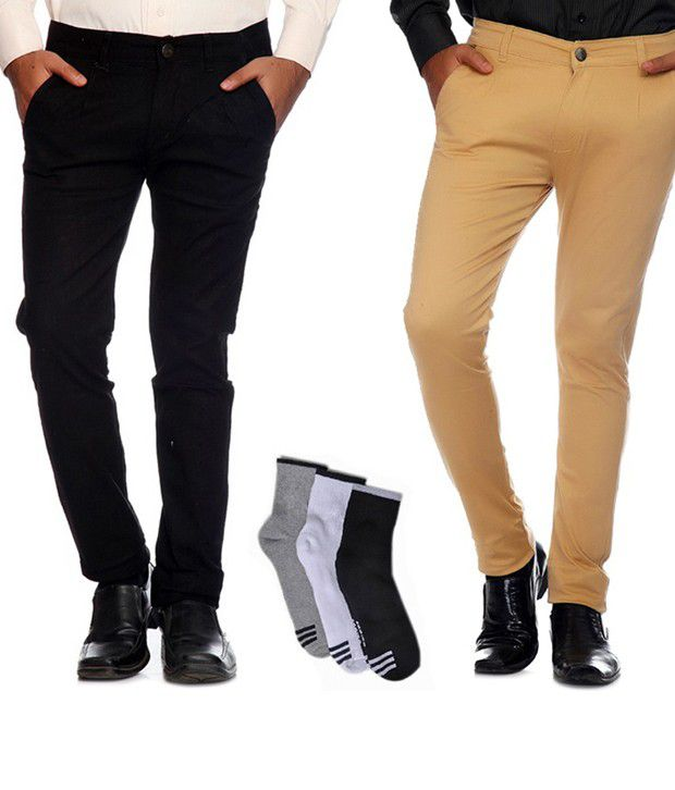 AVE Black and Tan Cotton Lycra Formal Trousers with Combo of Free Socks