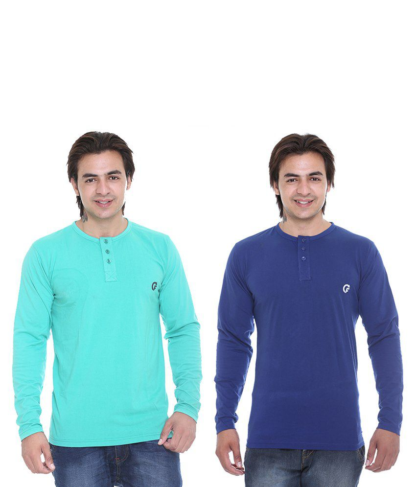 CEE FOR LIGHT GREEN & ROYAL BLUE HENLEY T-SHIRT COMBO PACK OF -2