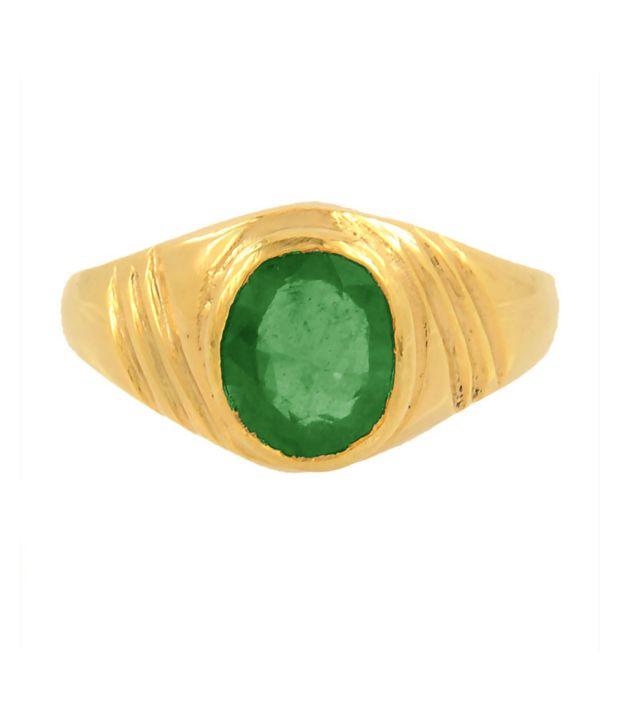 Barishh 7.25 Ratti Emerald Gemstone Astrological Ring in Panchdhatu