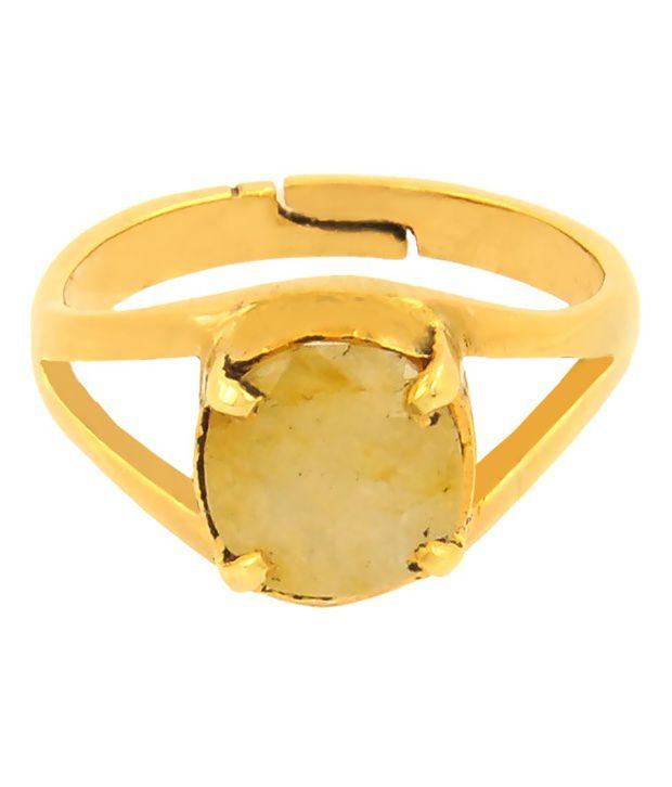 Bello 5.25 Ratti Yellow Sapphire Ring in Panchdhatu