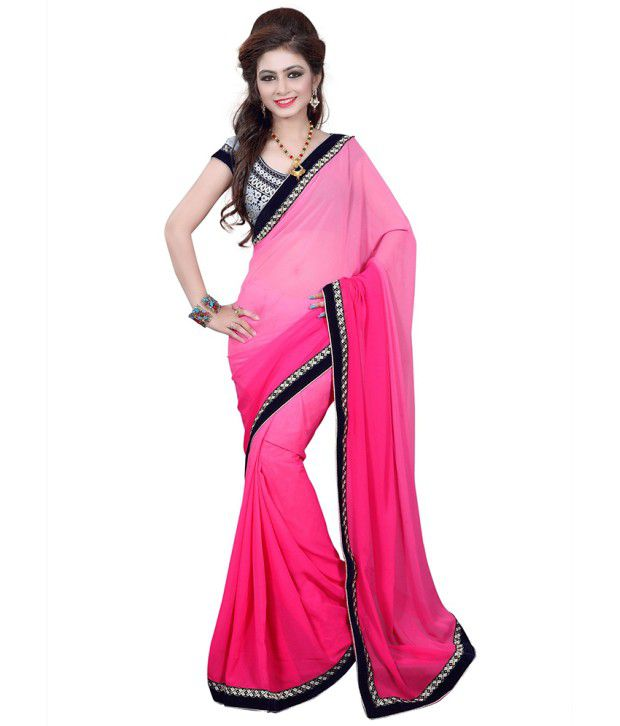 Gopal sarees Pink Semi Chiffon Saree