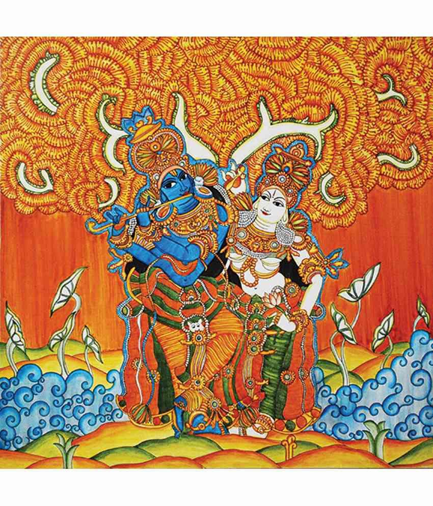 Retcomm Art Digital Art Large Size Single Krishna And Gopi Kerala Mural Religious Painting