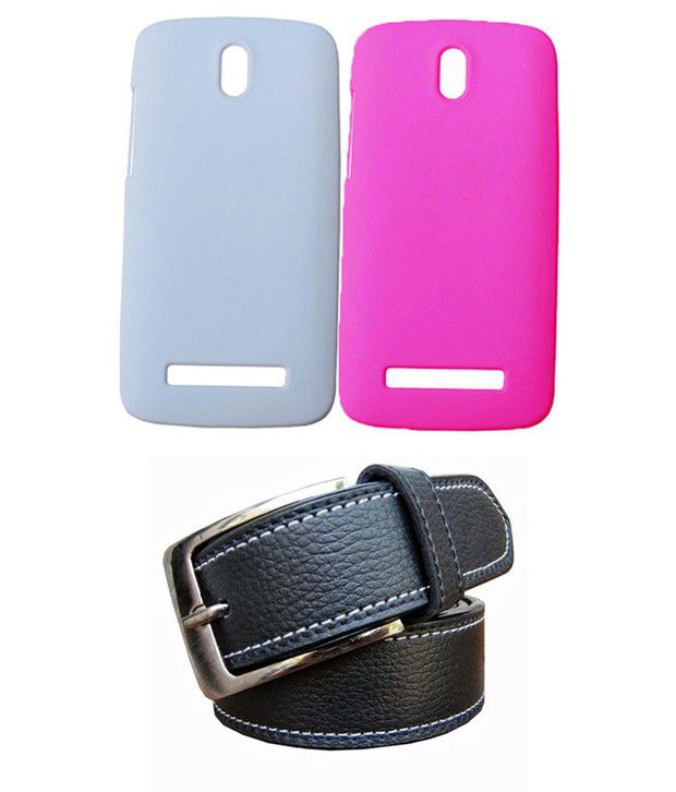 Winsome Deal Black Belt with 2 Back Cover Cases for HTC Desire 500