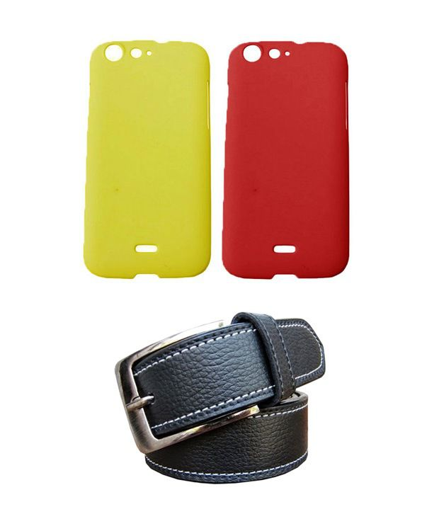 Winsome Deal Black Belt with 2 Back Cover Cases for Micromax Canvas 4 A210