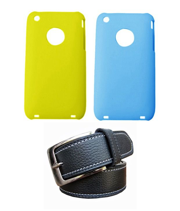 Winsome Deal Black Belt with 2 Back Cover Cases for Apple Iphone 3G