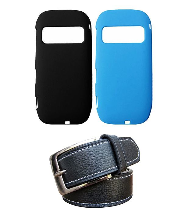 Winsome Deal Black Belt with 2 Back Cover Cases for Nokia C7