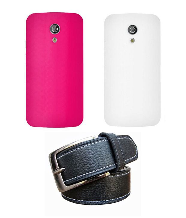 Winsome Deal Black Belt with 2 Back Cover Cases for Motorola Moto G2
