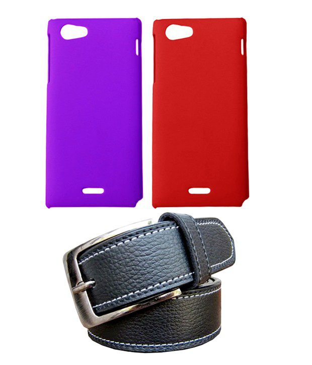 Winsome Deal Black Belt with 2 Back Cover Cases for Sony Xperia J ST26I