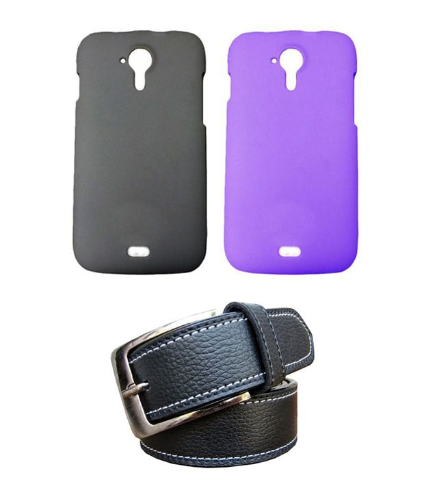 Winsome Deal Black Belt with 2 Back Cover Cases for Micromax A116