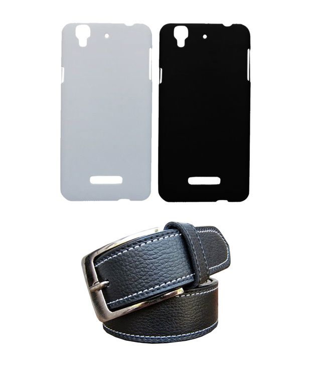 Winsome Deal Black Belt with 2 Back Cover Cases for Micromax Yureka