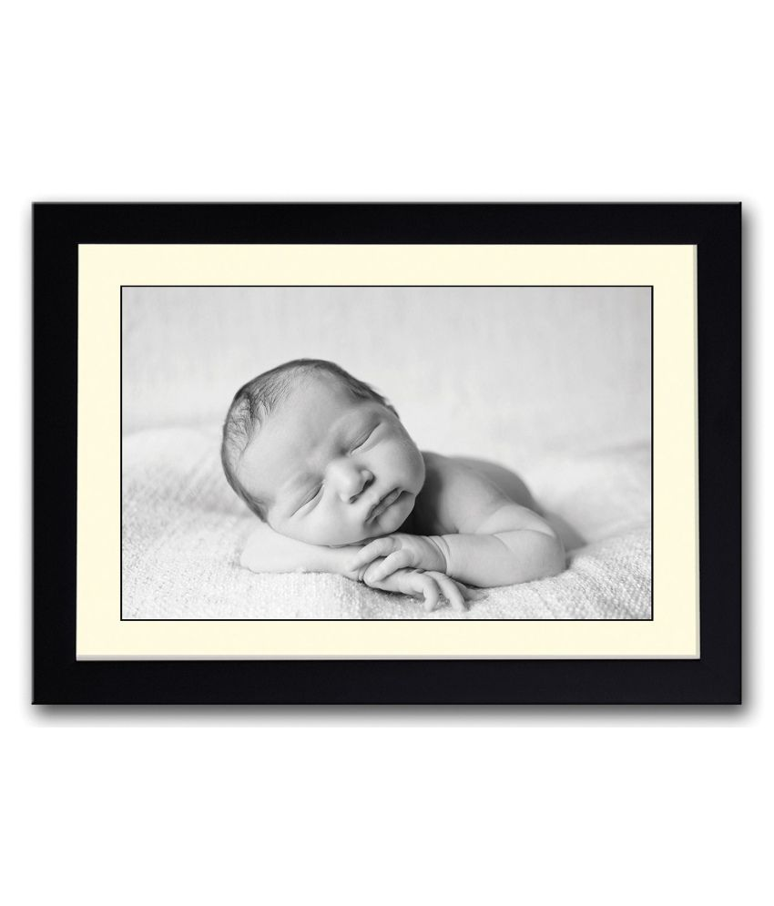 Artifa Matte Baby B&w Cute Painting With Wood Frame
