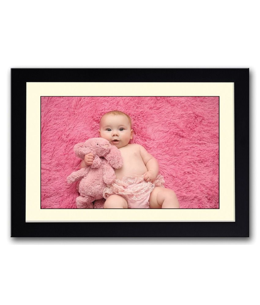 Artifa Matte Baby With A Pink Bunny Painting With Wood Frame