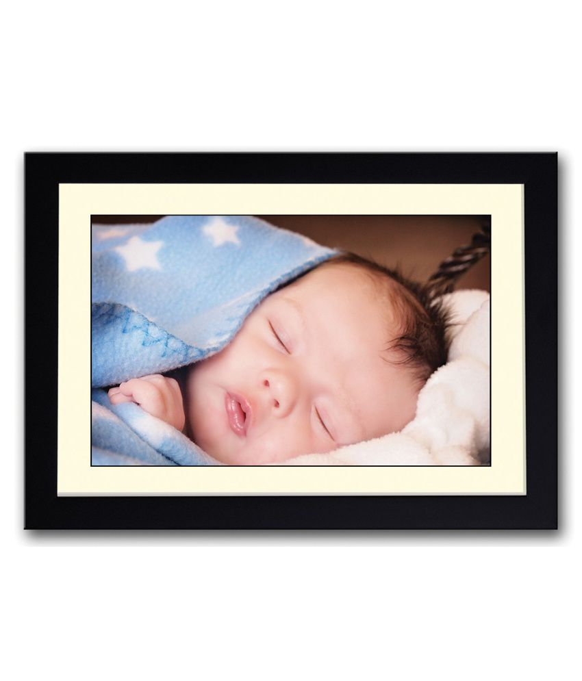 Artifa Matte Cute Baby In Blue Blanket Painting With Metal Frame