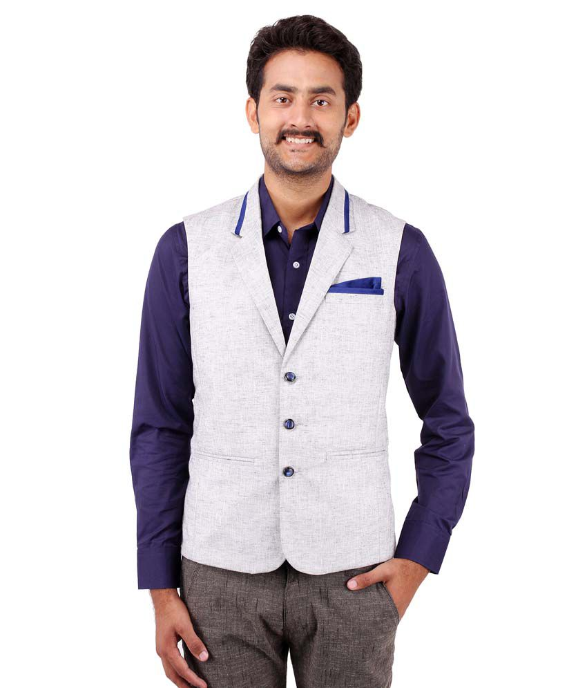 Platinum Studio Grey Cotton Blend Waistcoats