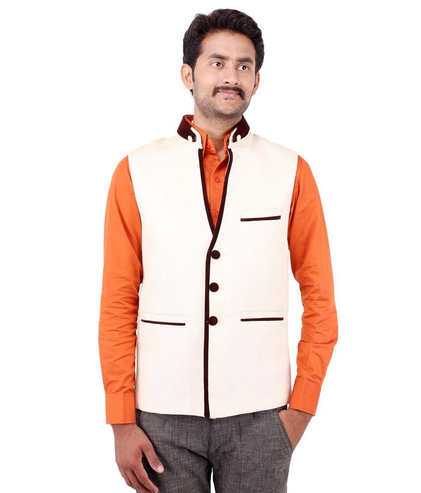 Platinum Studio Off-white Cotton Blend Waistcoats
