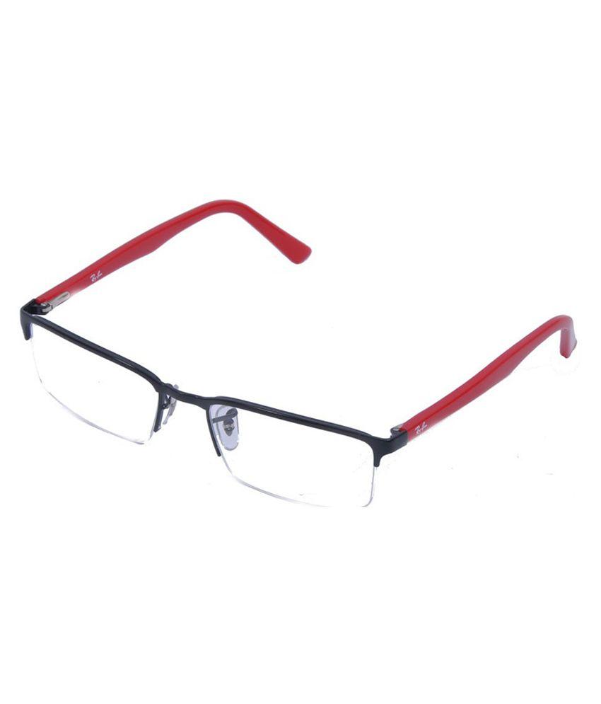 ray ban half frame eyeglasses  Ray-Ban Black and Red Metal Half Rim Frame Eyeglasses - Buy Ray ...