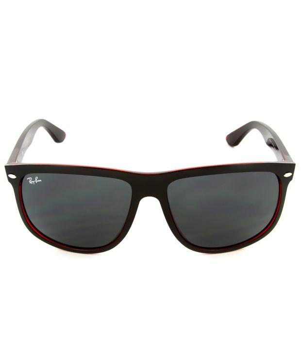8a202233b ... Ray-ban Stylish Black And Red Frame Grey Lens Wayfarer Sunglasses ...