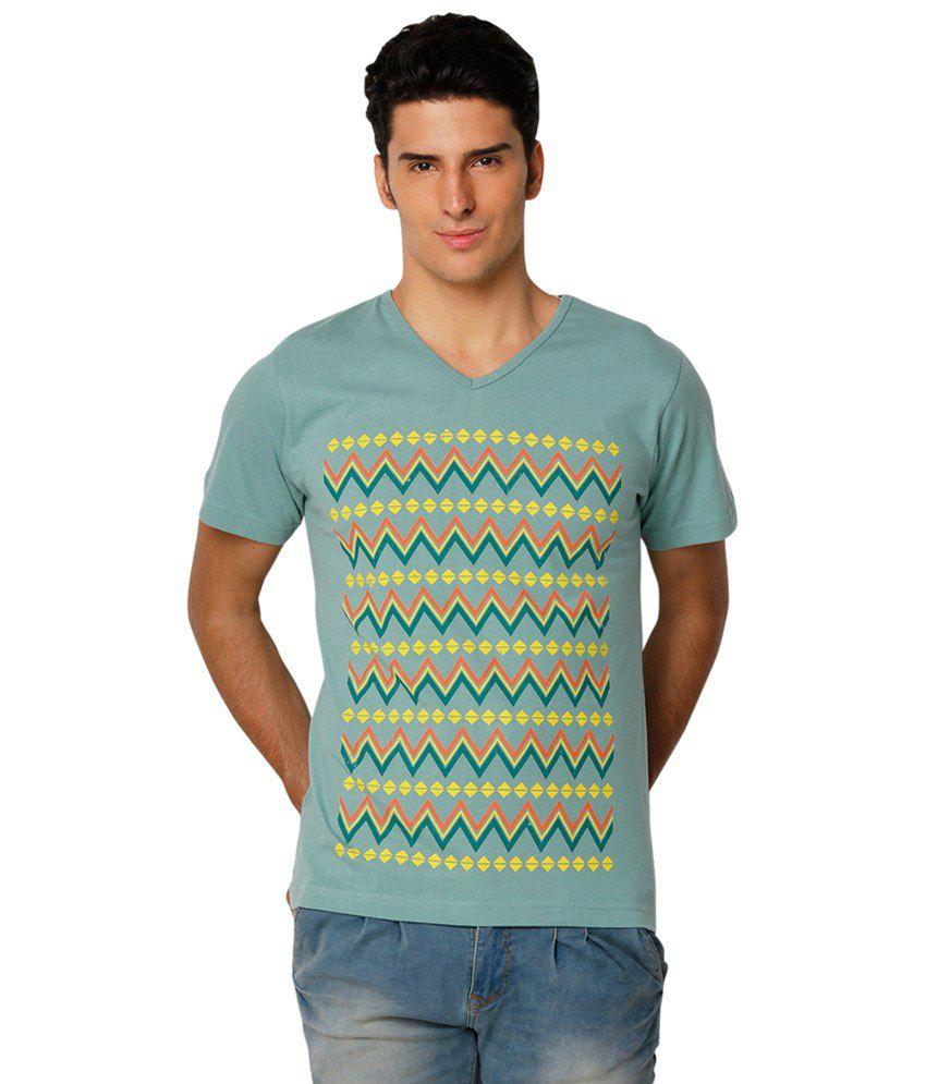 Yepme Green & Yellow Awry V Neck Printed T Shirt for Men