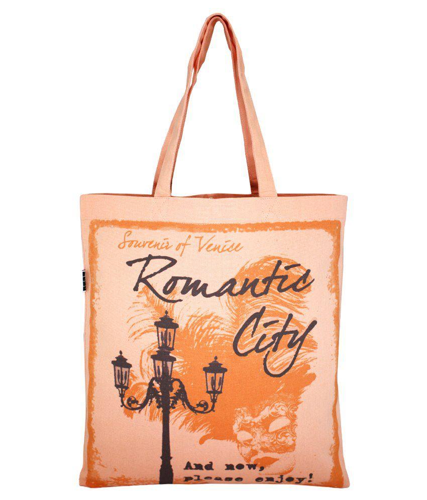 YOLO Canvas Cloth Tote Bag-Orange