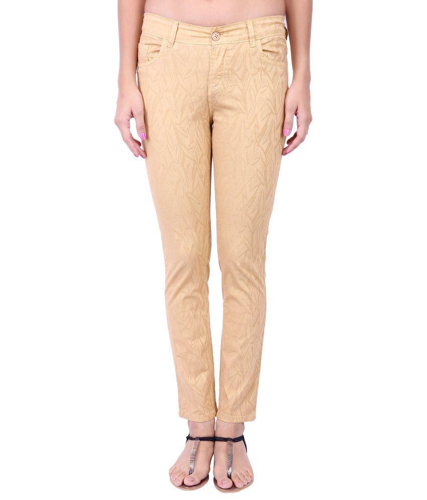 Fashion Cult Beige Cotton Lycra Trousers