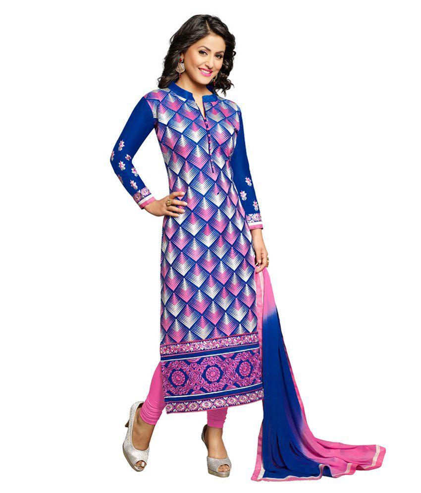 Khushali Blue Cotton Regular Unstitched Dress Material
