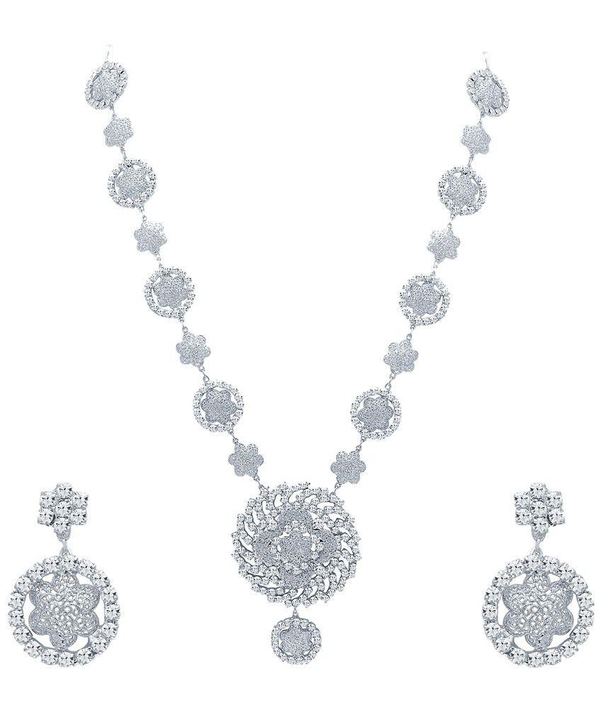 Sukkhi Sparkling Rhodium Plated Australian Diamond Necklace Set