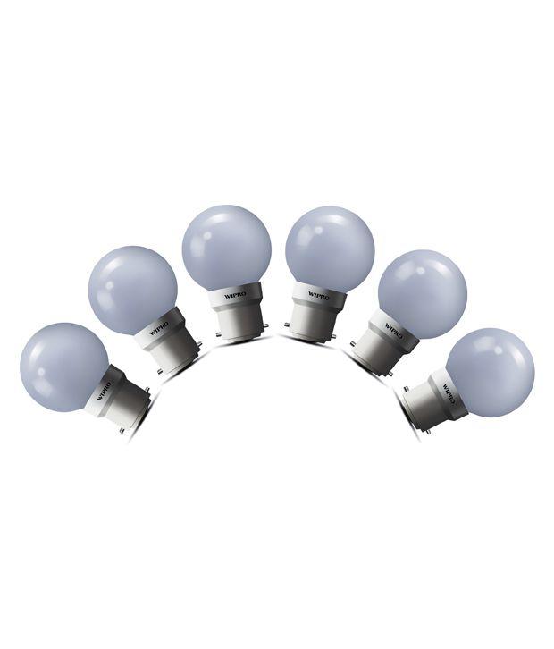 Wipro 0.5W LED (Pack of 6) Deco Bulb-Warm White