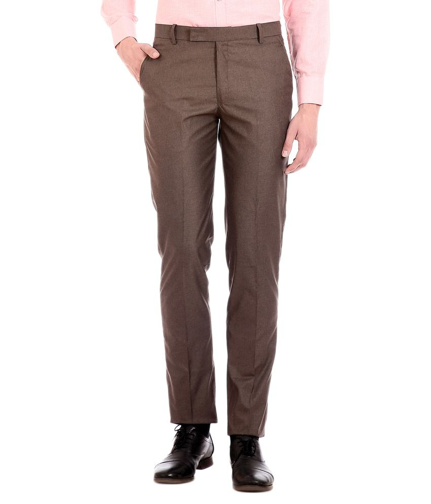 Flyjohn Brown Regular Fit Formal Trouser