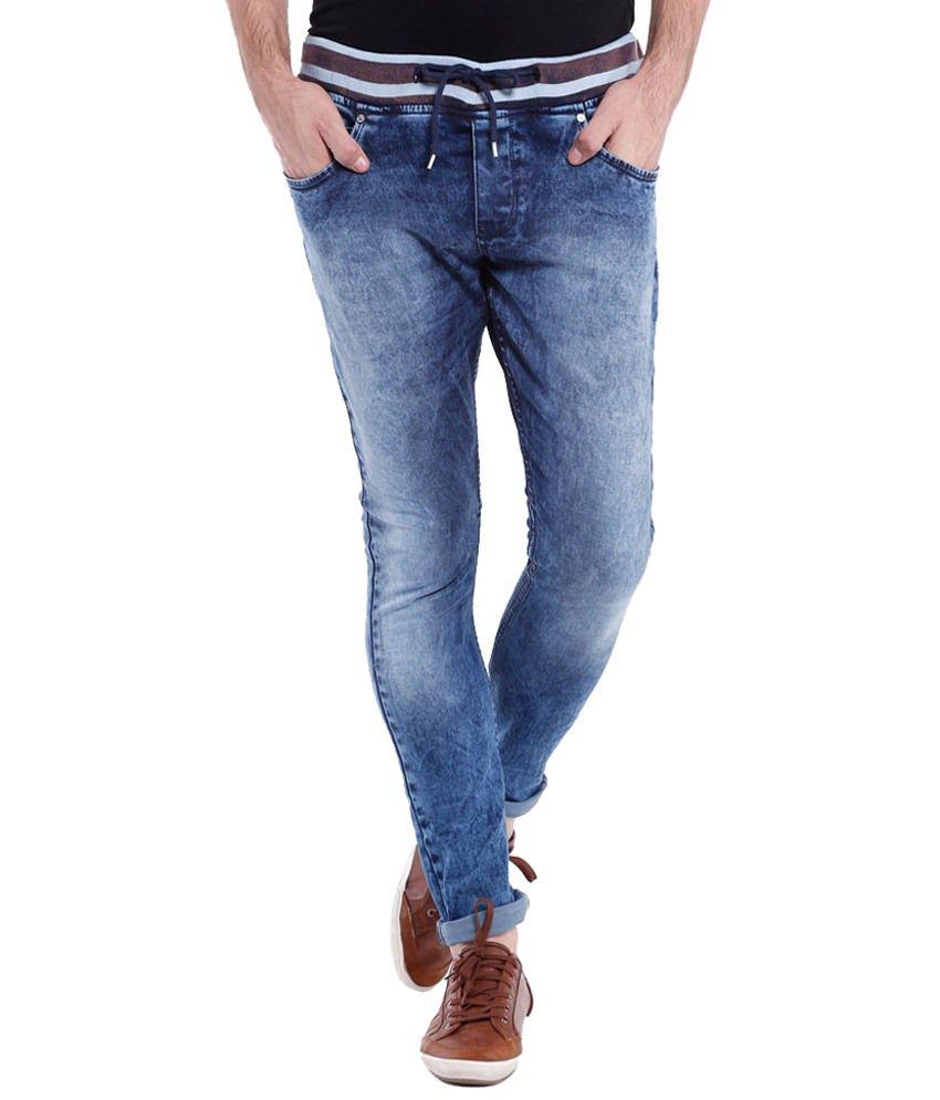 Vintage Simple Blue Slim Fit Jeans for Men