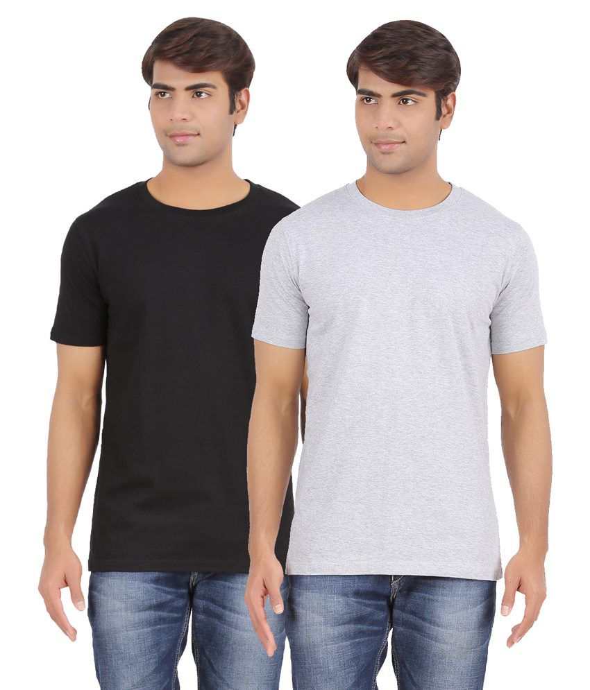 AP'Pulse Black & Grey Cotton T Shirt Pack Of 2