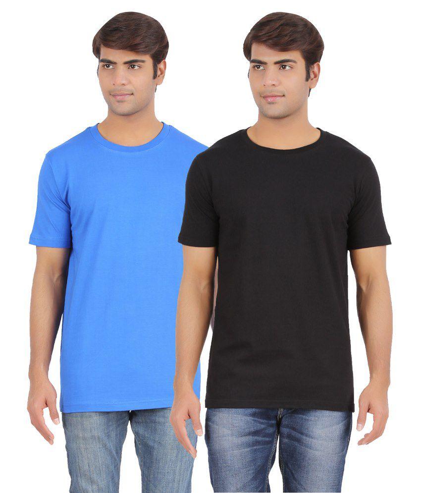AP'Pulse Blue & Black Cotton T Shirt Pack Of 2